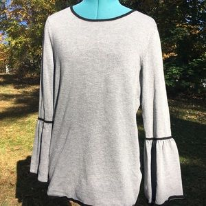 CALVIN KLEIN Bell Sleeve Sweater w/Piping